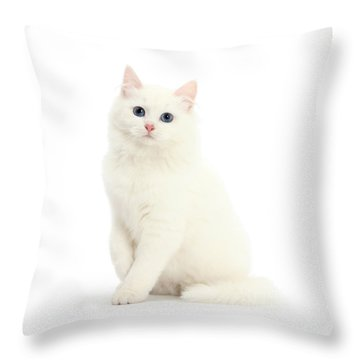 Throw Pillow featuring the photograph I'm All White by Warren Photographic