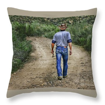 I'm Goin' Fishin Throw Pillow