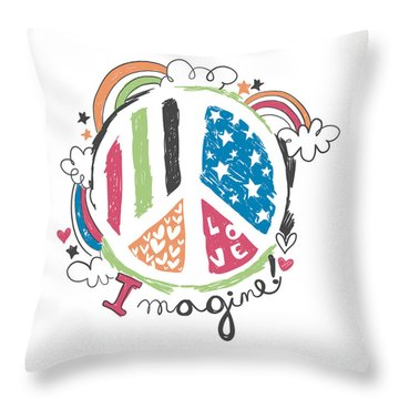 Imagine Love And Peace - Baby Room Nursery Art Poster Print Throw Pillow
