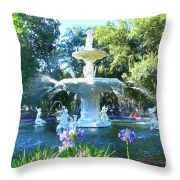 Impressionist Forsyth Park Fountain Throw Pillow