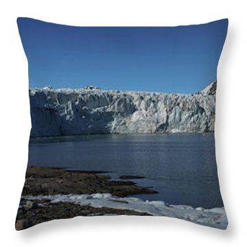 In Front Of A Glacier On Svalbard Throw Pillow