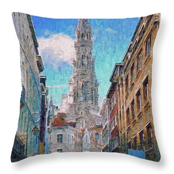 In-spired  Street Scene Brussels Throw Pillow