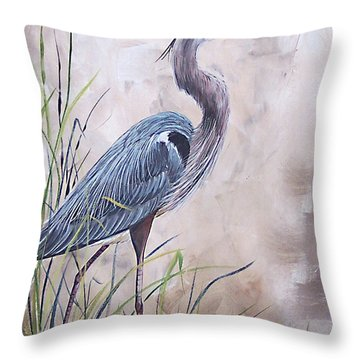 In The Reeds Blue Heron-36x48 Throw Pillow