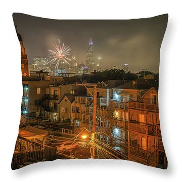 Independence Day In Chicago Throw Pillow