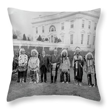 Indian Chiefs With President Harding Throw Pillow