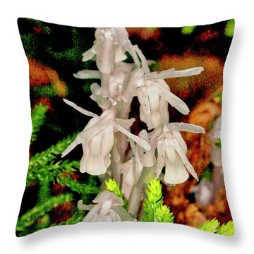 Indian Pipes On Club Moss Throw Pillow