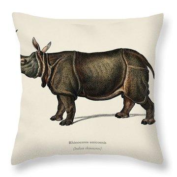 Indian Rhinoceros  Rhinoceros Unicornis Illustrated By Charles Dessalines D' Orbigny  1806-1876  Throw Pillow