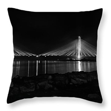 Indian River Bridge After Dark In Black And White Throw Pillow