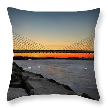 Throw Pillow featuring the photograph Indian River Bridge Over Swan Lake by Bill Swartwout Fine Art Photography