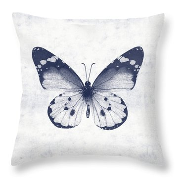Indigo And White Butterfly 1- Art By Linda Woods Throw Pillow