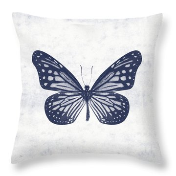 Indigo And White Butterfly 2- Art By Linda Woods Throw Pillow