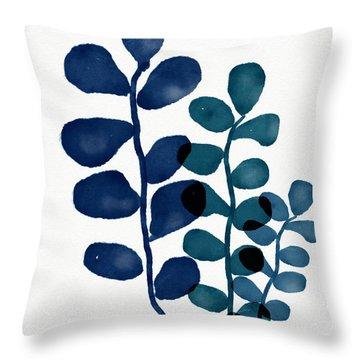 Indigo Eucalyptus 1- Art By Linda Woods Throw Pillow