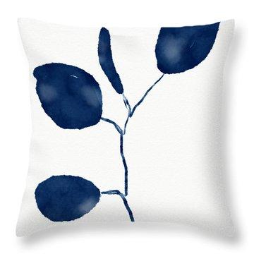 Indigo Eucalyptus 2- Art By Linda Woods Throw Pillow