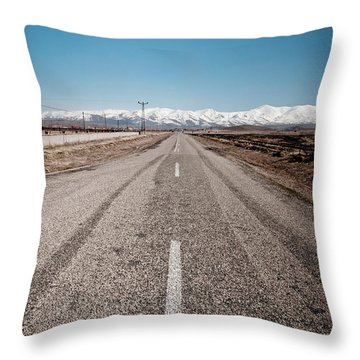 infinit road in Turkish landscapes Throw Pillow