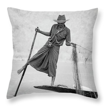 Inle Lake Fisherman Byw Throw Pillow