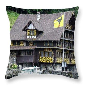 Inn On Lake Lucerne Throw Pillow