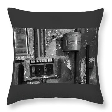Throw Pillow featuring the photograph Inside The Projection Room - Bw by Kristia Adams