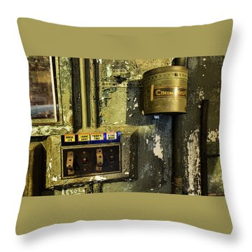 Throw Pillow featuring the photograph Inside The Projector Room by Kristia Adams