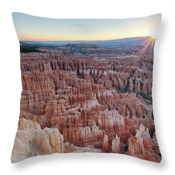 Throw Pillow featuring the photograph Inspiration Point Sunrise Bryce Canyon National Park Summer Solstice by Nathan Bush