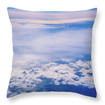 Intense Blue Sky With White Clouds And Plane Crossing It, Seen From Above In Another Plane. Throw Pillow