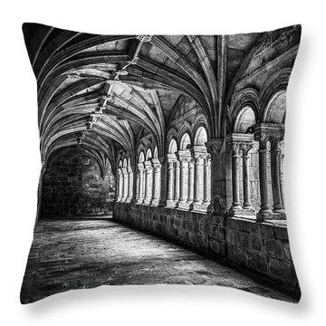 Interior Corridors Of The Monastery Of Santo Estevo De Ribas Del Sil Throw Pillow