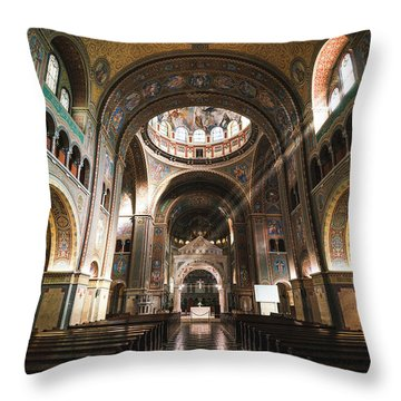 Interior Of The Votive Cathedral, Szeged, Hungary Throw Pillow