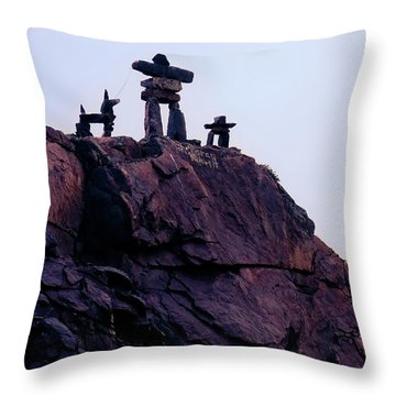 Throw Pillow featuring the photograph Inukshuk Family In Labrador, Canada by Tatiana Travelways