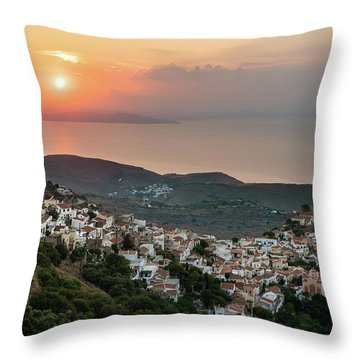 Ioulis Town Sunset, Kea Throw Pillow