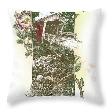 Iowa Covered Bridge Throw Pillow