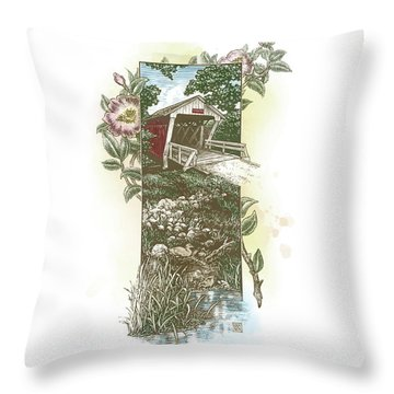 Iowa Covered Bridge Throw Pillow