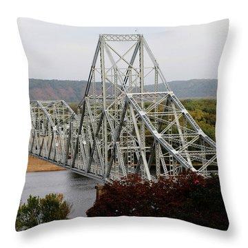 Iowa - Mississippi River Bridge Throw Pillow