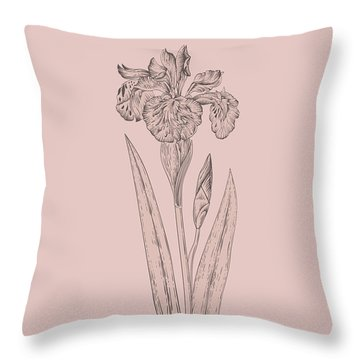 Iris Blush Pink Flower Throw Pillow