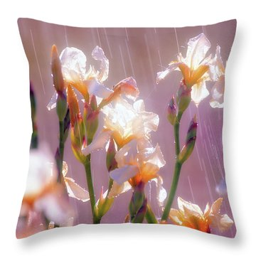 Iris In Rain Throw Pillow