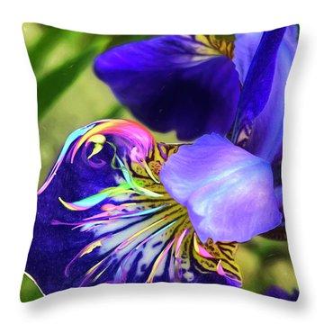 Throw Pillow featuring the digital art Iris Osirus by Cindy Greenstein