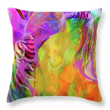 Throw Pillow featuring the digital art Iris Psychedelic  by Cindy Greenstein