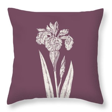 Iris Purple Flower Throw Pillow
