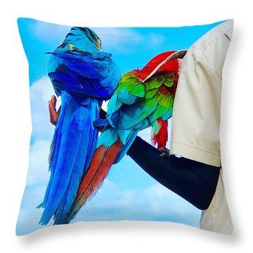 Throw Pillow featuring the digital art Island Birds  by Cindy Greenstein