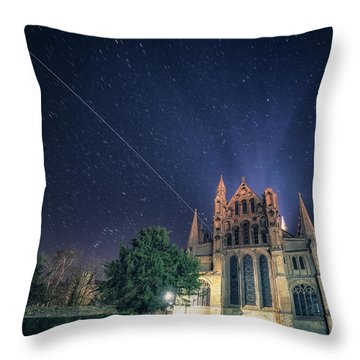 Iss Over Ely Cathedral Throw Pillow