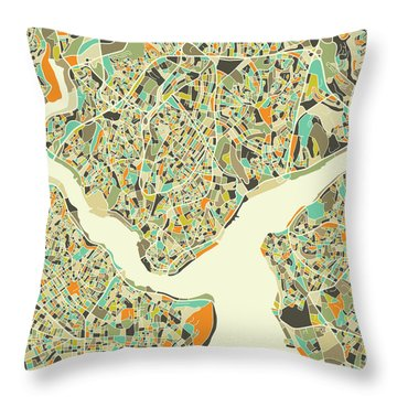 Istanbul Map 1 Throw Pillow