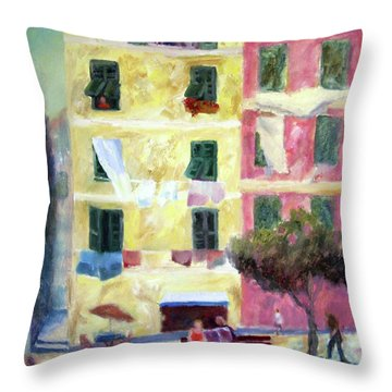 Italian Piazza With Laundry Throw Pillow