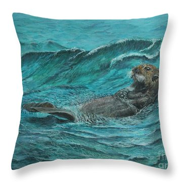 It's My Otter Day Off.....sea Otter Throw Pillow