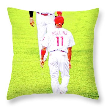 J Roll And The Big Piece, Ryan And Rollins, Phillies Greats Throw Pillow