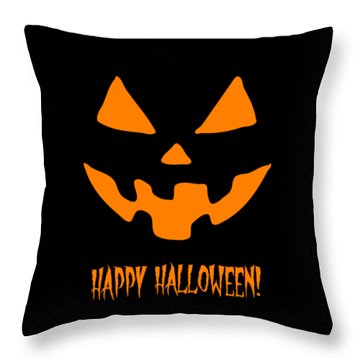 Jackolantern Happy Halloween Pumpkin Throw Pillow