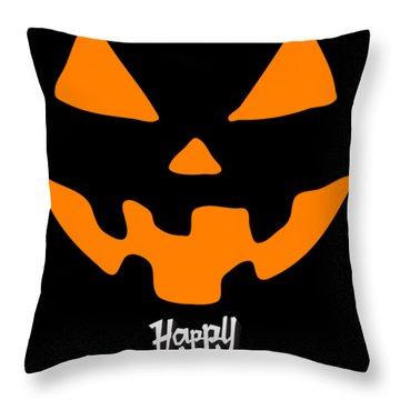 Jackolantern Pumpkin Happy Halloween Throw Pillow