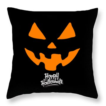Jackolantern Pumpkin Happy Halloween Throw Pillow