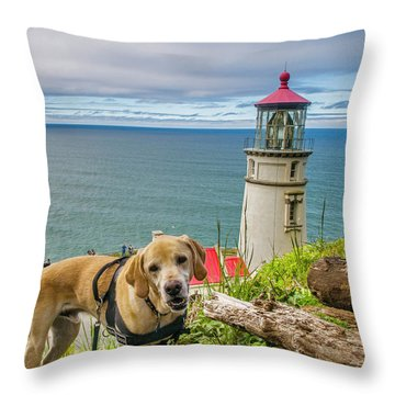 Jackson At Heceta Head Lighthouse Throw Pillow