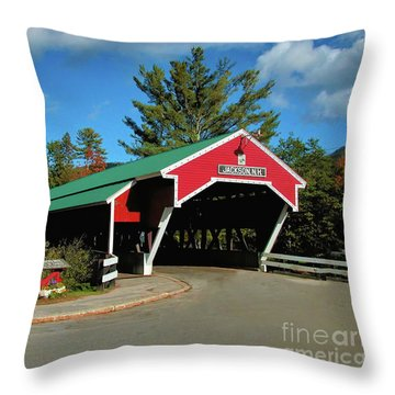 Throw Pillow featuring the photograph Jackson Covered Bridge by Debbie Stahre