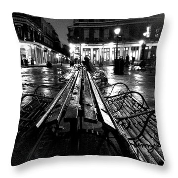 Jackson Square In The Rain Throw Pillow