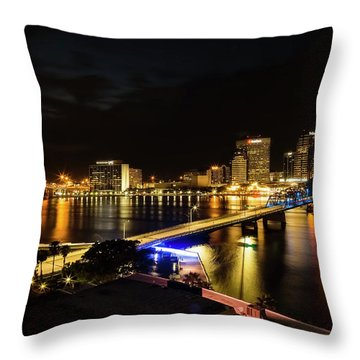 Jacksonville Skyline By Night Throw Pillow