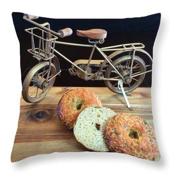 Jalapeno Cheddar Sourdough Bagels Throw Pillow